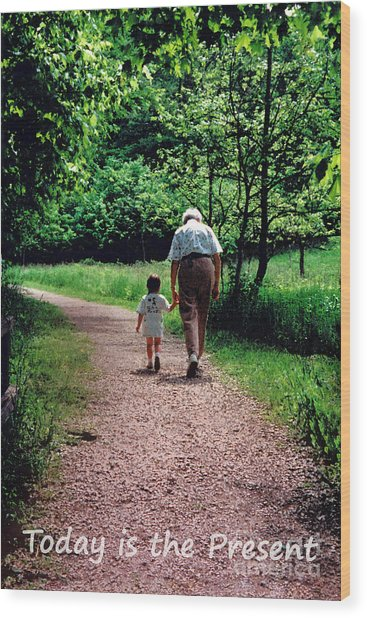 Walking With Grandma Wood Print