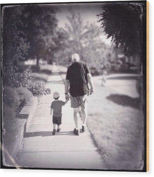 Walking With Grandpa Wood Print