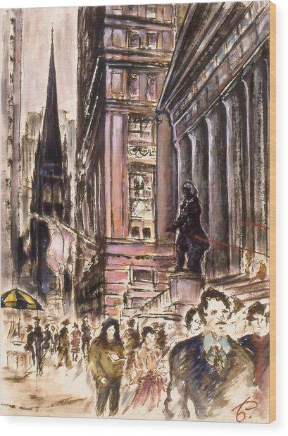 New York Wall Street - Fine Art Painting Wood Print