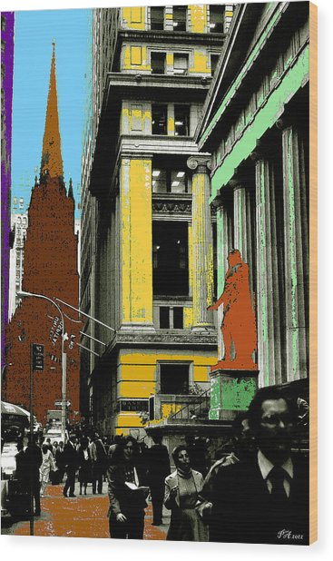New York Pop Art In Blue Green Red Yellow Wood Print