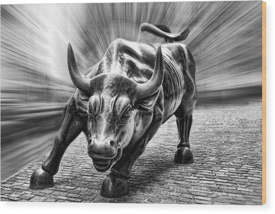Wall Street Bull Black And White Wood Print
