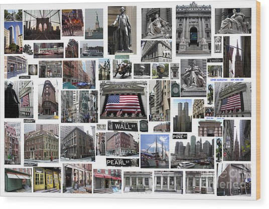 Wall Street Financial District Collage Wood Print
