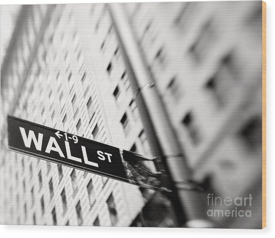 Wall Street Street Sign Wood Print