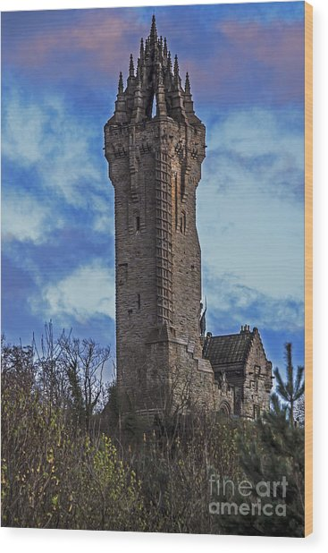 Wallace Monument During Sunset Wood Print