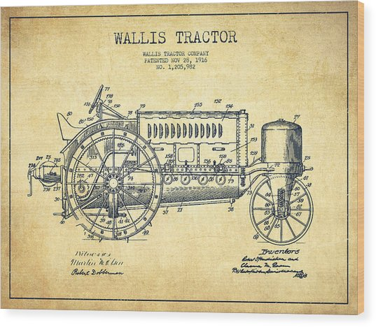 Wallis Tractor Patent Drawing From 1916 - Vintage Wood Print