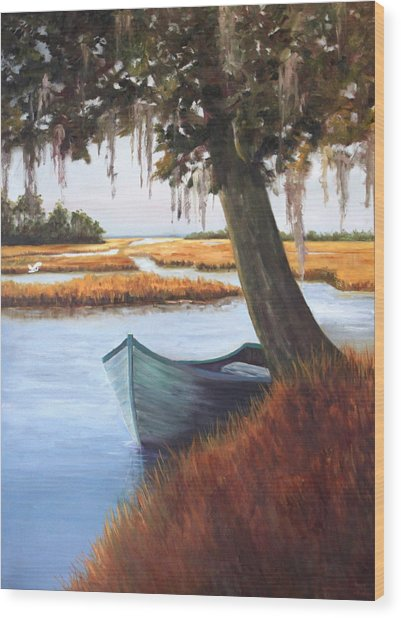 Wallowing In The Marsh Wood Print by Karen Langley