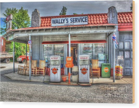Wally's Service Station Wood Print