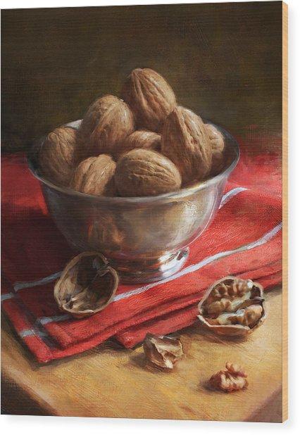 Walnuts On Red Wood Print