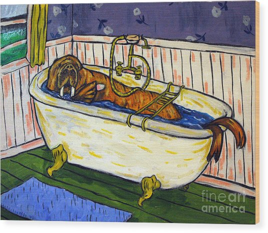 Walrus Bather Wood Print by Jay  Schmetz