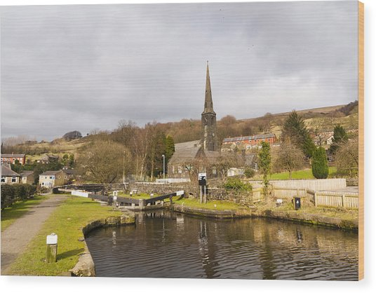 Walsden Church And Canal Lock Wood Print