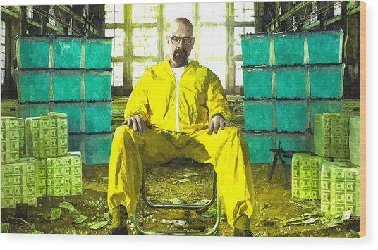 Walter White As Heisenberg Painting Wood Print
