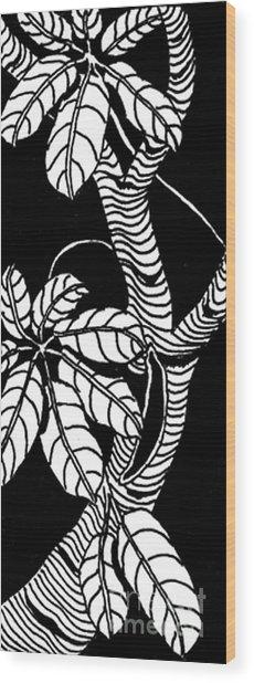 Wandering Leaves Octopus Tree Design Wood Print