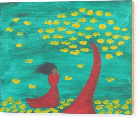 Wandering Woman In The Wind Wood Print