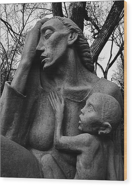 War Mother By Charles Umlauf In Black And White Wood Print