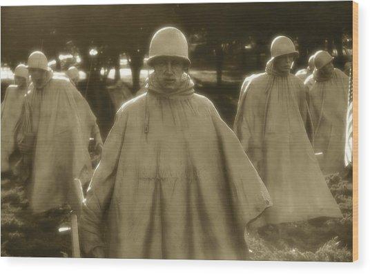 War Soldiers On Patrol Wood Print
