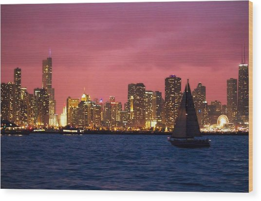 Warm Summer Night Chicago Style Wood Print