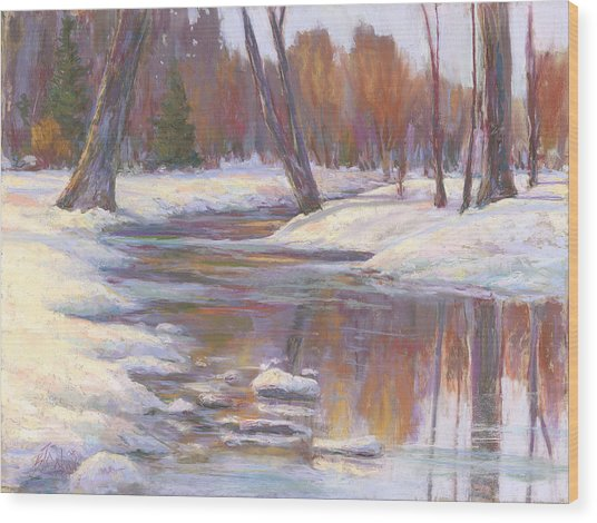 Warm Winter Reflections Wood Print by Billie Colson