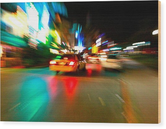 Warp Taxi Wood Print by Gary Dunkel
