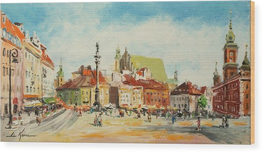 Warsaw- Castle Square Wood Print