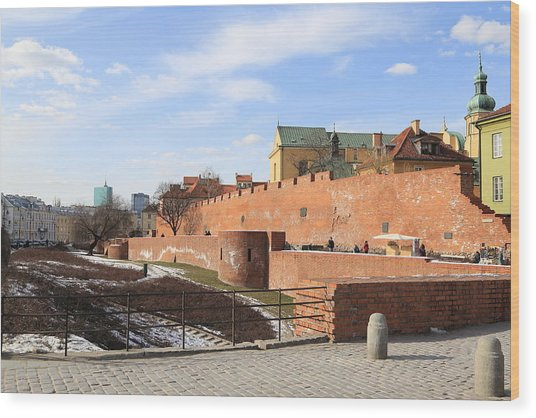 Warsaw Old Town Wall And Castle Wood Print by Pejft