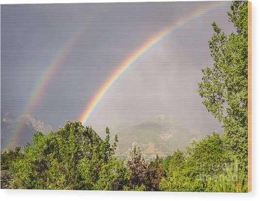 Wasatch Rainbow Wood Print