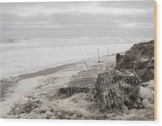 Wash A Shore From Storm Saturn  Wood Print by Eugene Bergeron