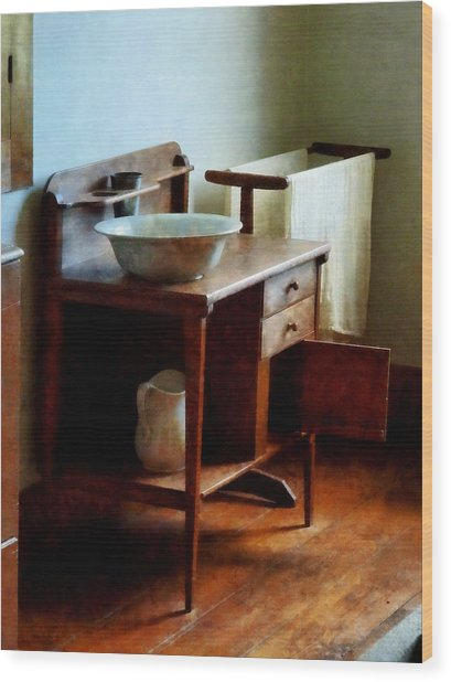 Wash Basin And Towel Wood Print