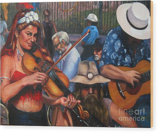 Washboard Lissa On Fiddle Wood Print