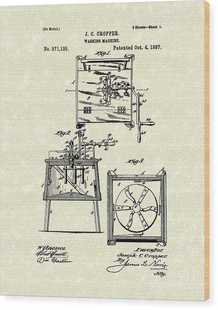 Washing Machine 1887 Patent Art Wood Print