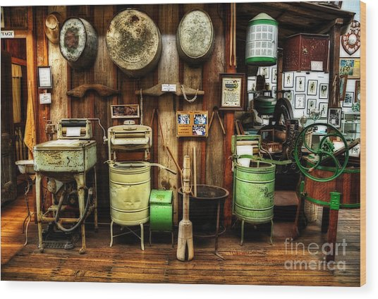 Washing Machines Of Yesteryear Wood Print
