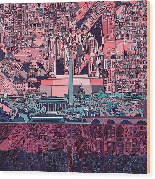 Washington Dc Skyline Abstract 2 Wood Print
