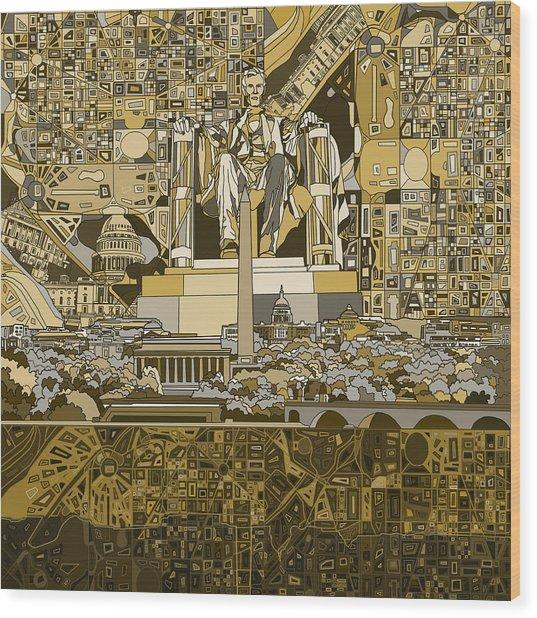 Washington Dc Skyline Abstract 4 Wood Print