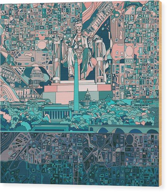 Washington Dc Skyline Abstract 5 Wood Print