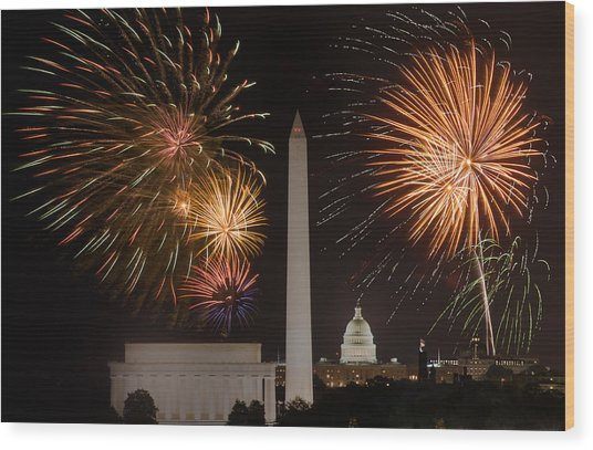 Washington Fireworks Wood Print