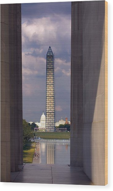 Washington Monument And Capitol 2 Wood Print