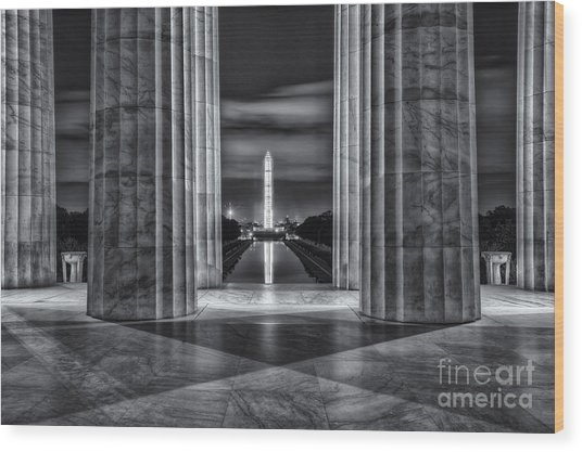 Washington Monument From Lincoln Memorial II Wood Print