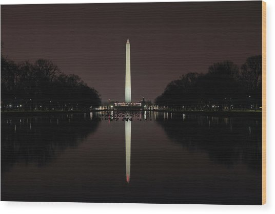 Washington Monument Reflections At Night Wood Print