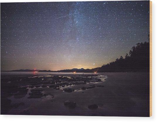 Washington Olympic Night Sky Meteor Wood Print