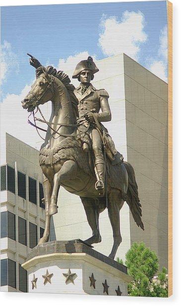 Washington On His Horse Wood Print