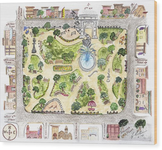 Washington Square Park Map Wood Print