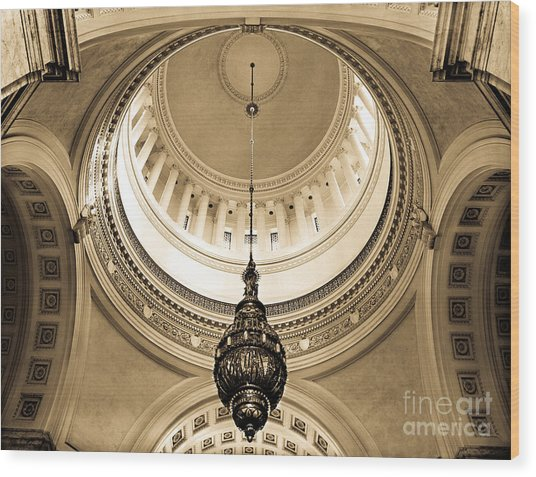 Washington State Capitol Building Rotunda Sepia Wood Print