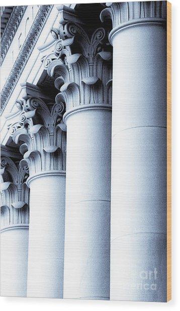 Washington State Capitol Columns In Blue Wood Print