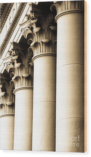 Washington State Capitol Columns In Sepia Wood Print