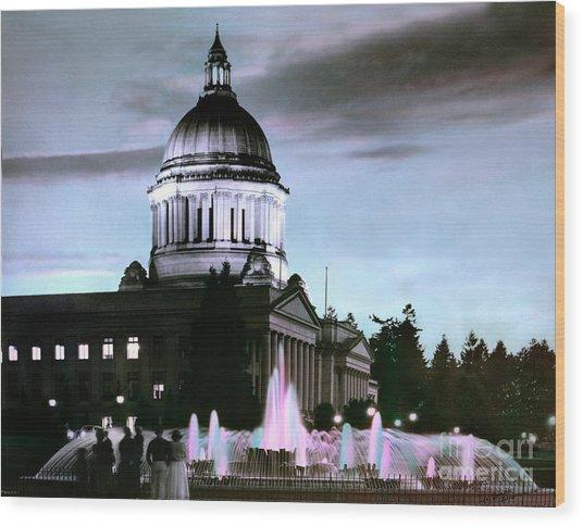 Washington State Capitol Tivoli Fountain 1950 Wood Print