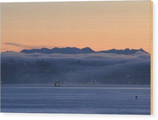 Washington State Ferries At Dawn Wood Print
