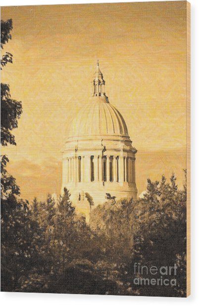 Washington State Legislative Building In Gold Wood Print