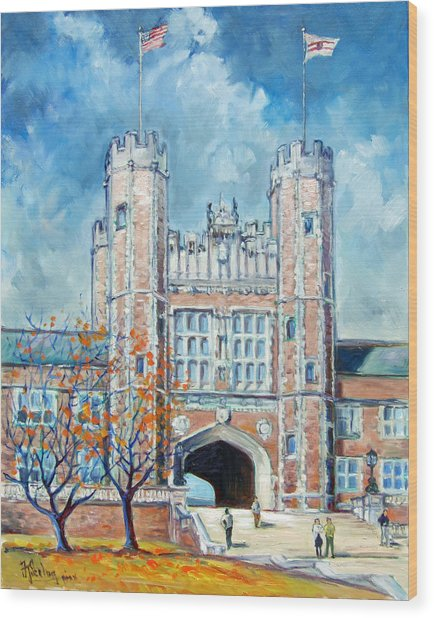 Washington University St.louis - Fall Wood Print