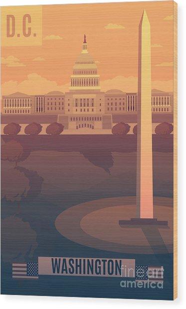 Washington Vector Landescape.washington Wood Print