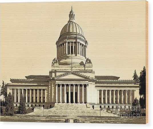 Washingtons State Capitol Building Sketch In Sepia Wood Print