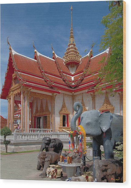 Wat Chalong Wiharn And Elephant Tribute Dthp045 Wood Print